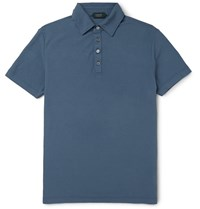 Incotex Slim Fit Cotton Pique Polo Shirt Blue