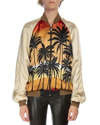 Saint Laurent Palm Tree Bomber Jacket Red Black Yellow Women's Red Black Yellow