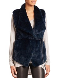 Vince Draped Rex Rabbit Fur Vest Lake