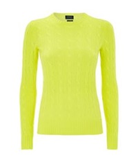 Polo Ralph Lauren Julianna Cable Knit Cashmere Sweater Yellow