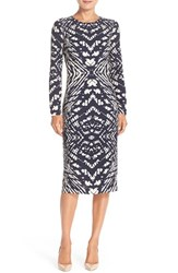 Women's Maggy London Tie Dye Print Crepe Midi Sheath Dress Navy Cream