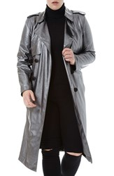 Elvi Plus Size Women's Belted Metallic Faux Leather Trench Coat