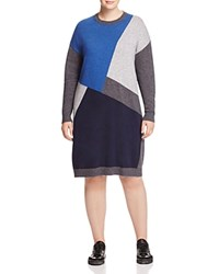 Marina Rinaldi Gardone Knit Color Block Dress China Blue
