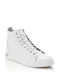 Diesel Quilted Leather High Top Sneakers White