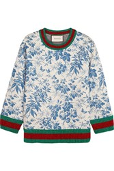 Gucci Printed Bonded Cotton Jersey Sweatshirt Blue