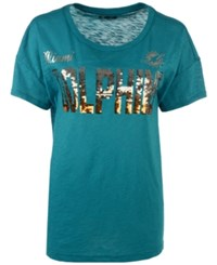 G3 Sports Women's Miami Dolphins In The Game Sequin T Shirt Aqua