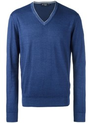 Hackett V Neck Jumper Blue