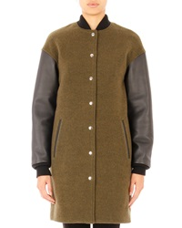 T By Alexander Wang Leather Sleeve Wool Blend Bomber Jacket Lichen