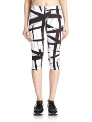Norma Kamali Abstract Print Cropped Leggings Abstract Lines