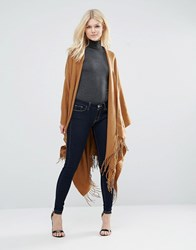 Glamorous Fringed Cape Camel Brown