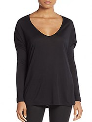 Haute Hippie Dropped Shoulder Long Sleeves Tee Black