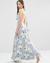 Asos Open Back Maxi Dress In Floral Print Multi