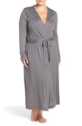 Yummie Tummie Plus Size Women's By Heather Thomson Long Jersey Robe Castlerock