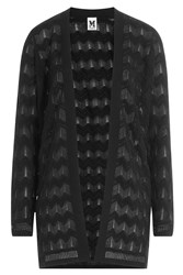 M Missoni Semi Sheer Chevron Knit Open Cardigan Black