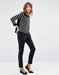 Suncoo Jane Cigarette Trousers With Tux Stripe Navy