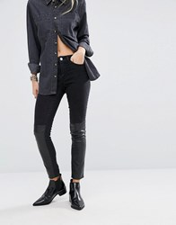 Noisy May Lucy Mid Rise Skinny Jean With Leather Look Panel Black