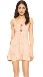 Flynn Skye Leila Lace Up Mini Dress Apricot Bliss