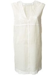 Drome Perforated Leather Dress White