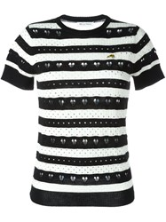 Bella Freud Striped Heart Lace Jumper Black