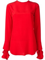 Nina Ricci Cuff Detailing Longsleeved Blouse Red