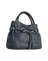 Buti Blue Italian Pebble Calf Leather Satchel Bag