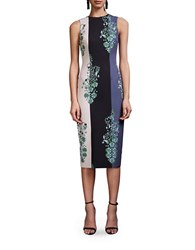 Cynthia Rowley Striped Ornate Floral Printed Crepe Dress Emerald
