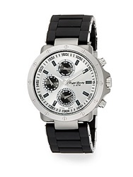 English Laundry Stainless Steel Chronograph Ceramic Bracelet Watch Black Silver