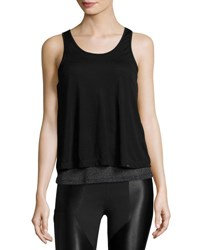Koral Shift Open Back Layered Tank Top Black Metallic