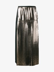 Stella Mccartney Carmen Metallic Pleated Skirt Forest Green Silver Black Denim