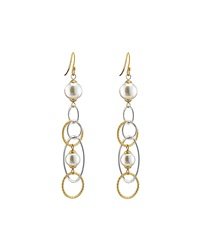 Majorica Duo Tone Pearl Drop Earrings White