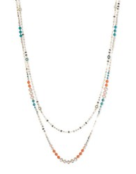 Anne Klein Goldtone Beaded Two Row Necklace Multi