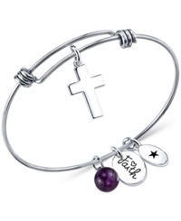 Unwritten Faith Charm And Amethyst 8Mm Bangle Bracelet In Stainless Steel