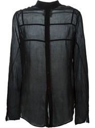Lost And Found Rooms Sheer Band Collar Shirt Black