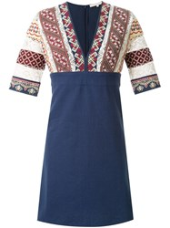 Vanessa Bruno Embroidered V Neck Dress Blue
