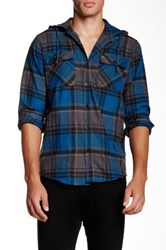 Ezekiel Moose Lake Hooded Flannel Shirt Blue
