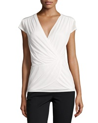 Laundry By Shelli Segal Cap Sleeve Twisted Front Top Warm White