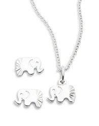 Lord And Taylor Sterling Silver Elephant Earring Necklace Set