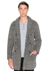 Scotch And Soda Long Shawl Collar Cardigan In Boucle Knit Gray