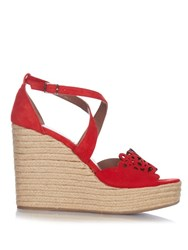 Tabitha Simmons Laser Cut Suede Wedge Sandals Red