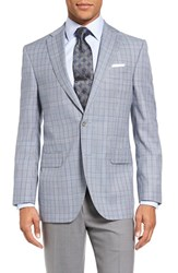 David Donahue Men's Big And Tall Connor Classic Fit Plaid Wool Sport Coat Blue