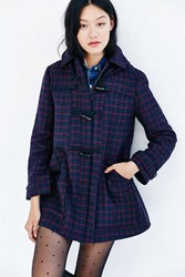 Cooperative Check Duffle Coat Navy