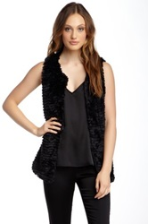 Fever Tiered Faux Fur Vest Black