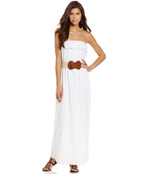 Trixxi Juniors Dress Strapless Belted Maxi White