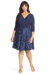 Plus Size Women's Marina Mock 2 Piece Fit And Flare Dress Navy