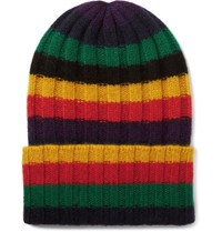 The Elder Statesman Striped Ribbed Cashmere Beanie Multi