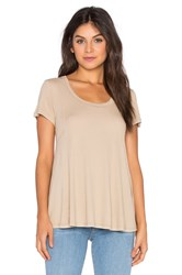 Heather Paneled Swing Top Tan