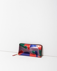 Comme Des Garcons Metallic Patchwork Long Zip Wallet Multicolor