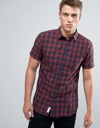 Jack And Jones Checked Shirt With Short Sleeves Burgandy Red