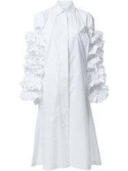 Roberts Wood Ruffle Sleeve Shirt Dress White