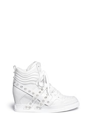 'Clash' High Top Leather Wedge Sneakers White